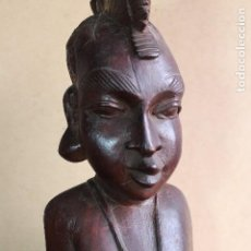 Arte: TALLA BUSTO EN MADERA AFRICANA MUJER, SENEGAL 34 CM AFRICAN WOOD CARVING - BUST PORTRAIT OF A WOMAN. Lote 123330167