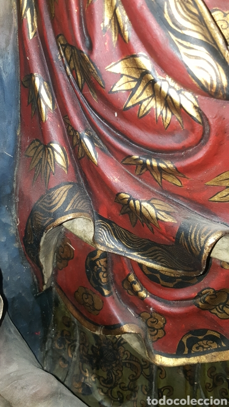 Arte: Kwan Yin. Espectacular pieza de madera tallada y pintada china. - Foto 8 - 44369683