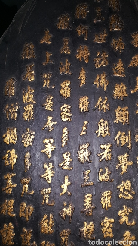 Arte: Kwan Yin. Espectacular pieza de madera tallada y pintada china. - Foto 13 - 44369683