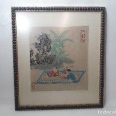 Arte: ANTIGUO GRABADO ILUMINADO ESCENA INFANTIL ORIENTAL JAPON. MEDIDA MARCO 35X40 CM. . Lote 124798399