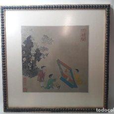 Arte: ANTIGUO GRABADO ILUMINADO ESCENA INFANTIL ORIENTAL JAPON. MEDIDA MARCO 41X41 CM. Lote 124798987