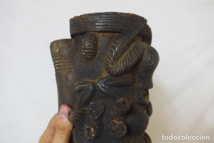 Arte: Antigua gran pipa escultura de terracota original de tribu de camerun, africana, Africa. - Foto 5 - 126194727