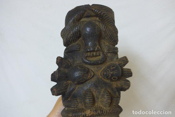 Arte: Antigua gran pipa escultura de terracota original de tribu de camerun, africana, Africa. - Foto 6 - 126194727