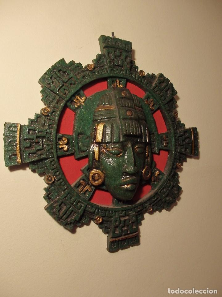 Arte: MÁSCARA GRANDE MEXICANA DE MALAQUITA SOBRE FONDO ROJO. - Foto 3 - 126441067
