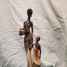 Arte: FIGURA AFRICANA. MADRE E HIJA MASAIS. Lote 127319107
