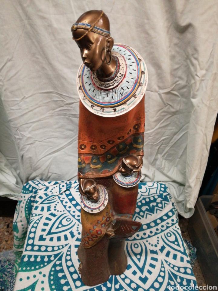 FIGURA AFRICANA. MADRE E HIJAS MASAI (Arte - Étnico - África)