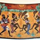 Arte: BATIK. ESCENA DE BAILE. ARTE TEXTIL AFRICANO (170 X 124 CM. APP.). Lote 128032983