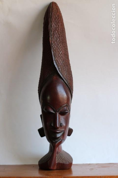 Arte: TALLA AFRICANA EN MADERA NOBLE DE AFRICA ROSTRO DE MUJER 50 cm de altura - Foto 3 - 128259411