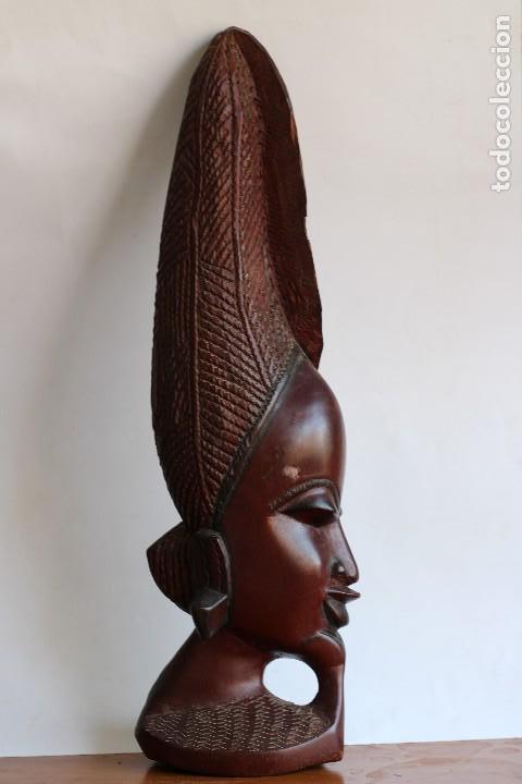 Arte: TALLA AFRICANA EN MADERA NOBLE DE AFRICA ROSTRO DE MUJER 50 cm de altura - Foto 4 - 128259411