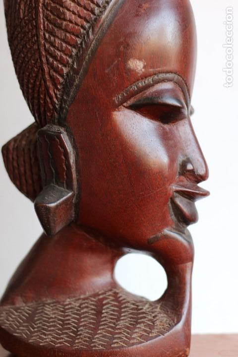 Arte: TALLA AFRICANA EN MADERA NOBLE DE AFRICA ROSTRO DE MUJER 50 cm de altura - Foto 5 - 128259411