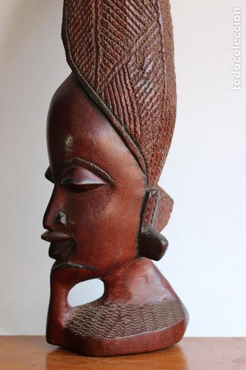 Arte: TALLA AFRICANA EN MADERA NOBLE DE AFRICA ROSTRO DE MUJER 50 cm de altura - Foto 6 - 128259411