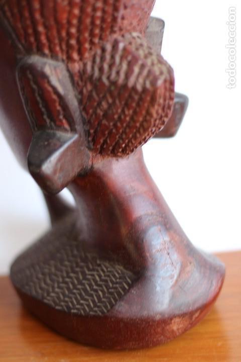 Arte: TALLA AFRICANA EN MADERA NOBLE DE AFRICA ROSTRO DE MUJER 50 cm de altura - Foto 8 - 128259411