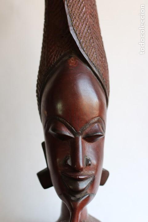 Arte: TALLA AFRICANA EN MADERA NOBLE DE AFRICA ROSTRO DE MUJER 50 cm de altura - Foto 2 - 128259411