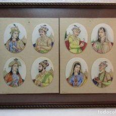 Arte: RETRATOS EN PLAQUITAS DE MARFIL DE NOBLES MOGOLES PP SIGLO. Lote 128332635