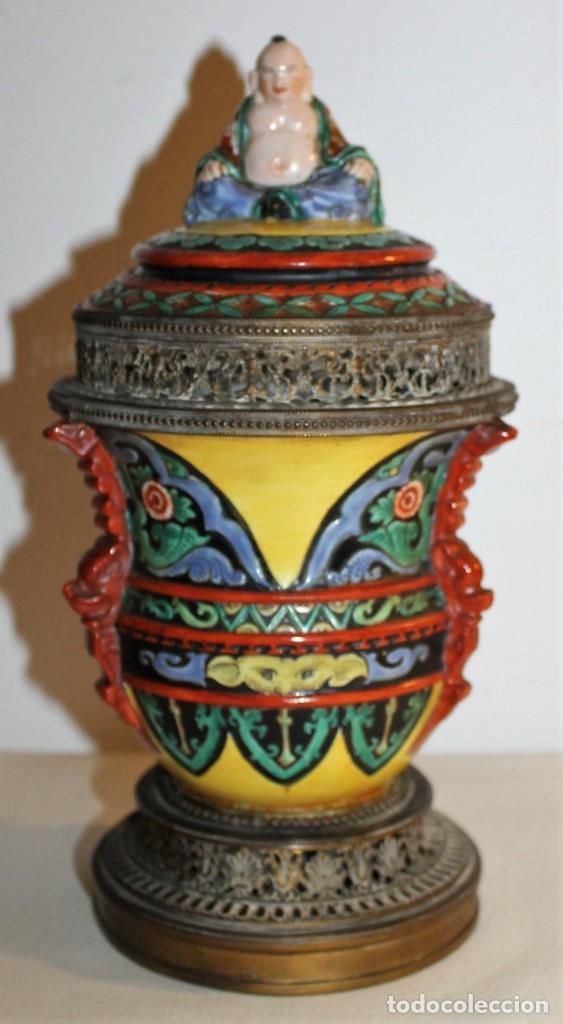 JARRÓN TIBOR INCENSARIO CHINO EN PORCELANA Y BRONZE CON BUDA EN LA TAPA - SIGLO XIX (Arte - Étnico - Asia)