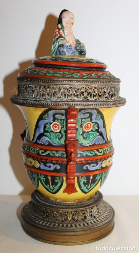 Arte: JARRÓN TIBOR INCENSARIO CHINO EN PORCELANA Y BRONZE CON BUDA EN LA TAPA - SIGLO XIX - Foto 11 - 128909887