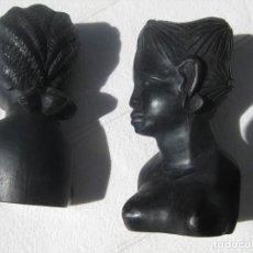 Arte: PAREJA DE BUSTOS DE MUJER AFRICANA EN ÉBANO. Lote 128944759