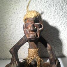 Arte: FIGURA HECHICERO -BRUJO - INDÍGENA - TALLADO EN MADERA - RECUERDO DE REPÚBLICA DOMINICANA. Lote 145342268