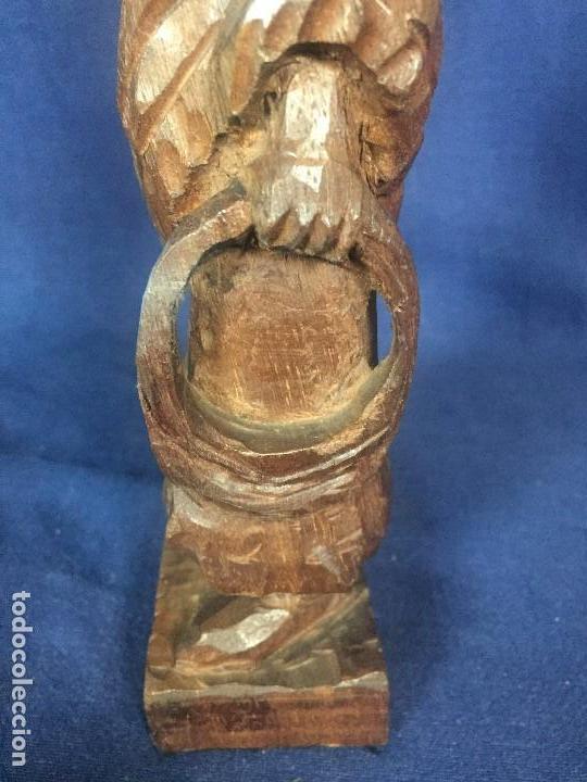 Arte: talla madera dura figura gaucho chile argentina barbudo sombrero lazo fusta 2ª mitad XX 24x7x5cms - Foto 8 - 129422491