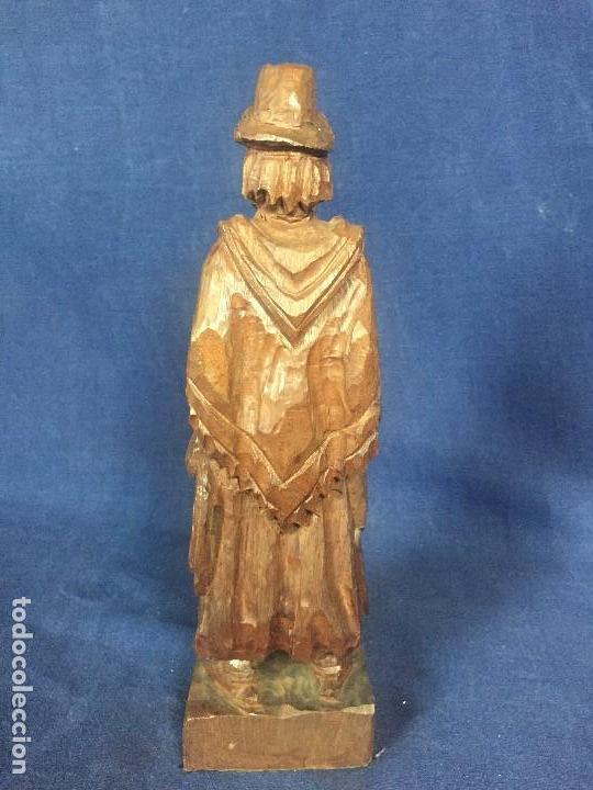 Arte: talla madera dura figura gaucho chile argentina barbudo sombrero lazo fusta 2ª mitad XX 24x7x5cms - Foto 6 - 129422491
