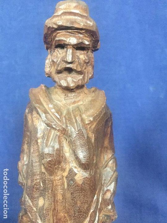 Arte: talla madera dura figura gaucho chile argentina barbudo sombrero lazo fusta 2ª mitad XX 24x7x5cms - Foto 2 - 129422491