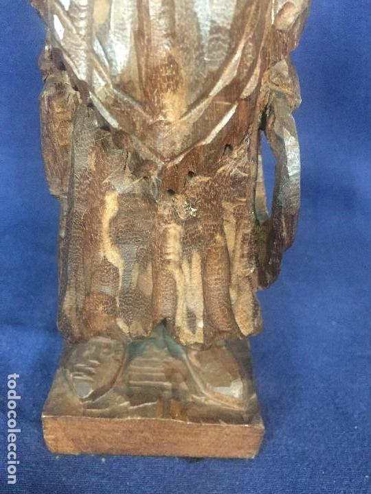Arte: talla madera dura figura gaucho chile argentina barbudo sombrero lazo fusta 2ª mitad XX 24x7x5cms - Foto 9 - 129422491