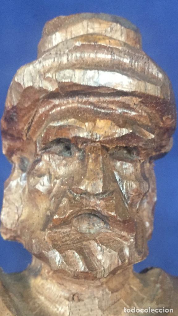 Arte: talla madera dura figura gaucho chile argentina barbudo sombrero lazo fusta 2ª mitad XX 24x7x5cms - Foto 7 - 129422491
