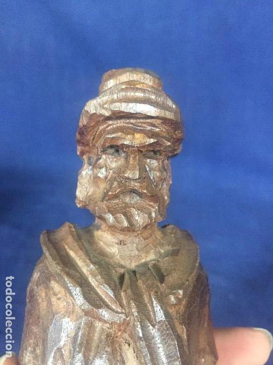 Arte: talla madera dura figura gaucho chile argentina barbudo sombrero lazo fusta 2ª mitad XX 24x7x5cms - Foto 4 - 129422491