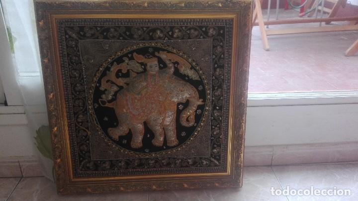 Arte: cuadro tapiz antiguo de la india bordado artesanalmente - Foto 2 - 129646371