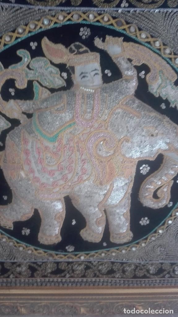 Arte: cuadro tapiz antiguo de la india bordado artesanalmente - Foto 3 - 129646371