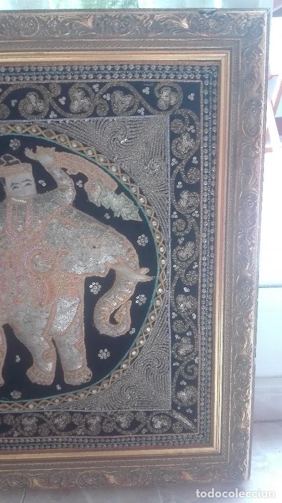 Arte: cuadro tapiz antiguo de la india bordado artesanalmente - Foto 6 - 129646371