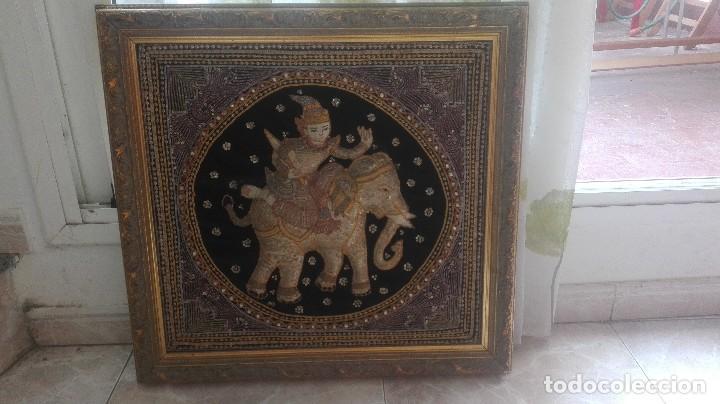 Arte: cuadro tapiz antiguo de la india bordado artesanalmente - Foto 2 - 129646535
