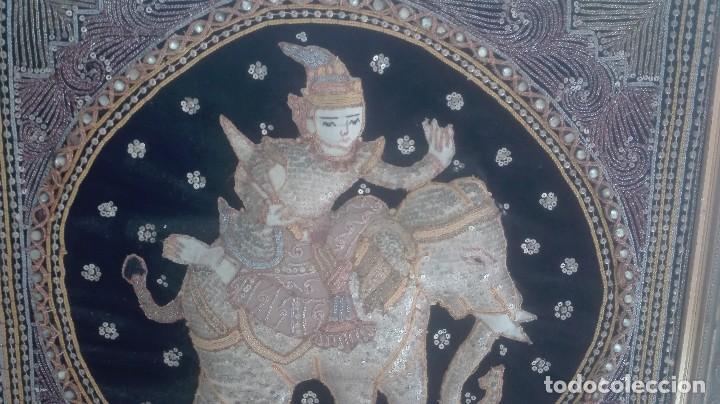 Arte: cuadro tapiz antiguo de la india bordado artesanalmente - Foto 4 - 129646535