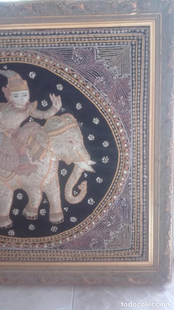 Arte: cuadro tapiz antiguo de la india bordado artesanalmente - Foto 5 - 129646535