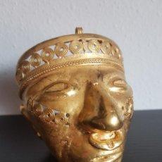 Arte: MASCARA TRIBAL DE LA CULTURA QUIMBAYA CON 148.80 GRAMOS DE PESO. Lote 130173851