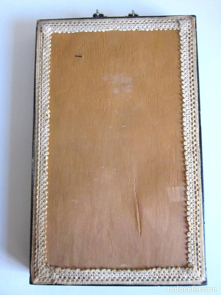 Arte: Antiguo cuadro oriental sobrerelieve nácar minerales esmaltado original medidados siglo XX - Foto 5 - 131144928