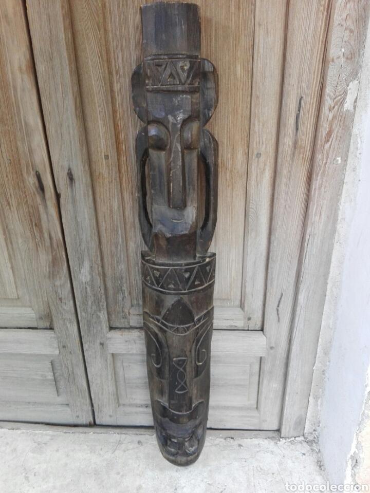 GRAN MASCARA AFRICANA DE MADERA TALLADA AFRICA 98 CM DE ALTURA (Arte - Étnico - África)
