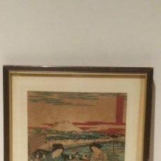 Arte: PINTURA EN TINTA CHINA GEISHA Y MONTE FUJI. Lote 131336938