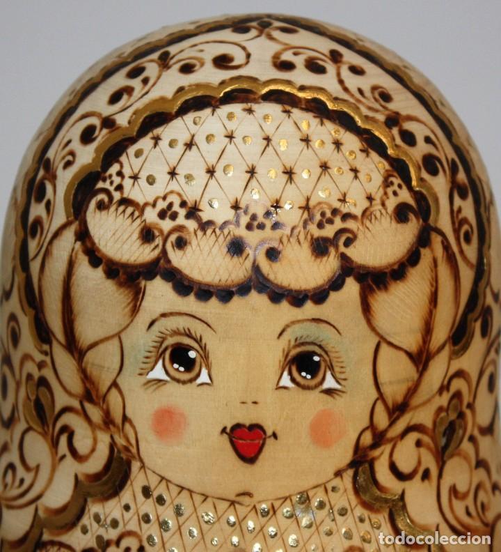 Arte: ESPECTACULAR MUÑECA RUSA (MATRIOSHKA) PIROGRABADA 10 PIEZAS,(24CM). - Foto 7 - 131493470