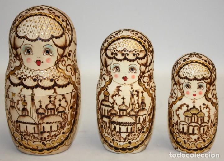 Arte: ESPECTACULAR MUÑECA RUSA (MATRIOSHKA) PIROGRABADA 10 PIEZAS,(24CM). - Foto 15 - 131493470