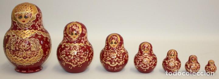 BONITA MUÑECA RUSA (MATRIUSKA) PINTADA A MANO Y FIRMADA,7 PIEZAS. (Arte - Étnico - Europa)