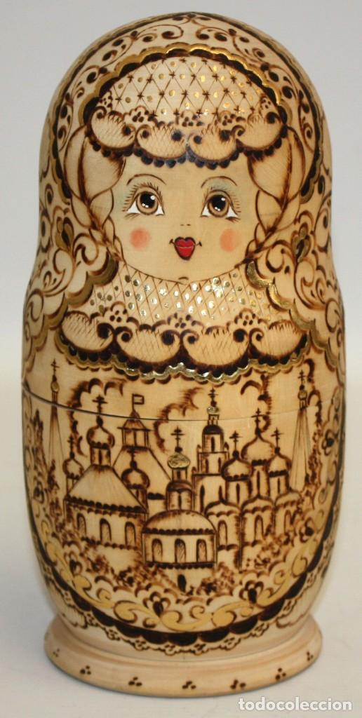 Arte: ESPECTACULAR MUÑECA RUSA (MATRIOSHKA) PIROGRABADA 10 PIEZAS,(24CM). - Foto 2 - 131493470
