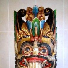 Arte: MÁSCARA TAILANDESA BALI INDONESIA DE MADERA TALLADA EN UNA PIEZA Y POLICROMADA.AÑOS '80. Lote 132020014