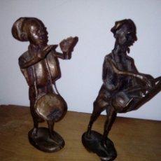 Arte: FIGURAS DE BRONCE. MÚSICOS AFRICANOS.. Lote 132332093