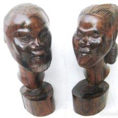 Arte: PAREJA DE FIGURAS AFRICANAS EN MADERA TROPICAL NOBLE MARAVILLOSAS PESAN 3.15 KILOS. Lote 132882922