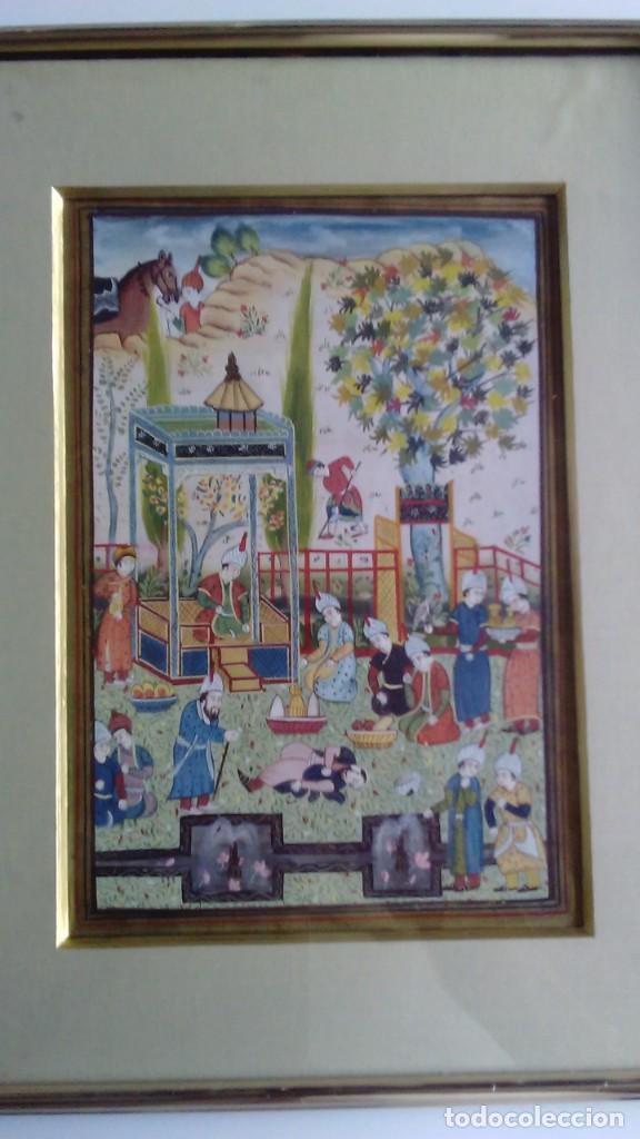 PINTURA PERSA, S XIX, ENMARCADO CON PASPARTÚ CON BISEL EN DORADO, ESCENA CORTESANA (Arte - Étnico - Asia)