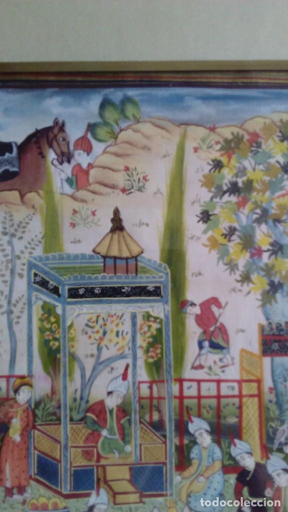 Arte: Pintura persa, S XIX, enmarcado con paspartú con bisel en dorado, escena cortesana - Foto 3 - 133090086