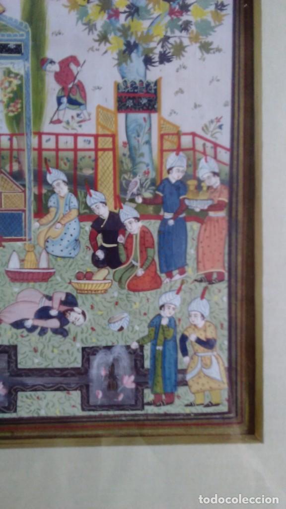 Arte: Pintura persa, S XIX, enmarcado con paspartú con bisel en dorado, escena cortesana - Foto 5 - 133090086