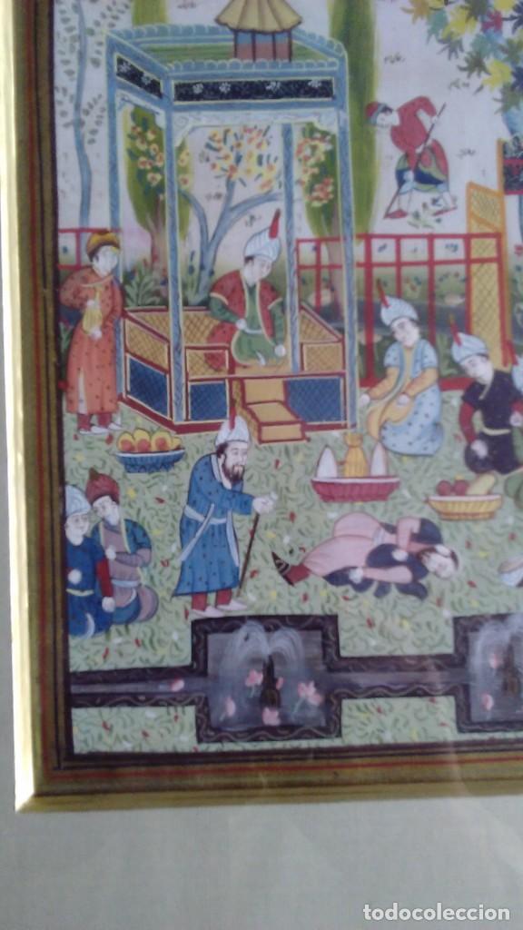 Arte: Pintura persa, S XIX, enmarcado con paspartú con bisel en dorado, escena cortesana - Foto 6 - 133090086