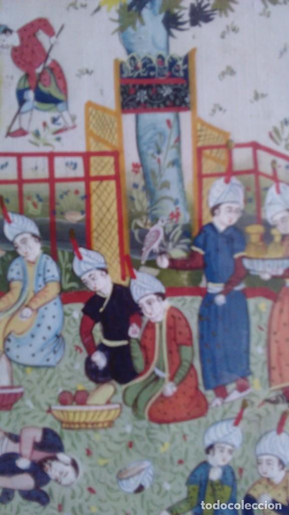 Arte: Pintura persa, S XIX, enmarcado con paspartú con bisel en dorado, escena cortesana - Foto 7 - 133090086